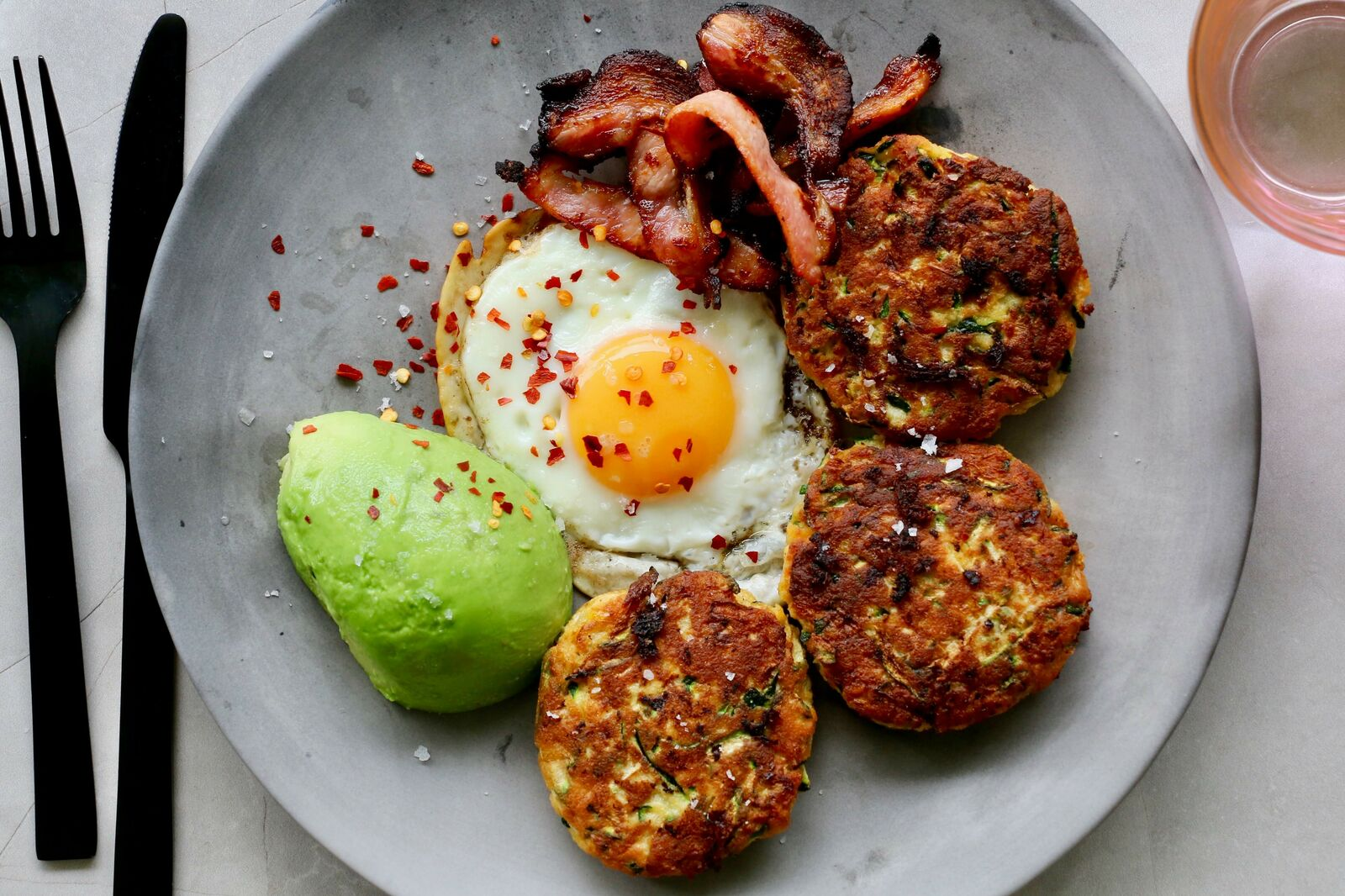 Zucchini Hash-browns with Eggs and Bacon
